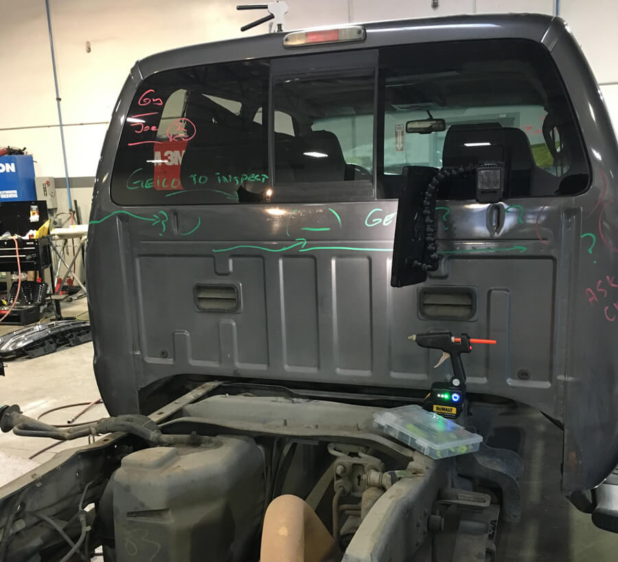 Paintless Dent Repair Back Cab of F-350